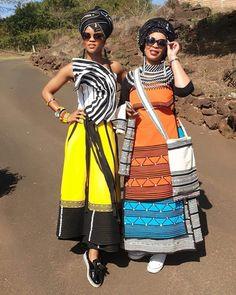 African Print Wedding Dress, African Wedding Attire, African Attire, Shweshwe Dresses, African Maxi Dresses, African Dresses For Women, South African Traditional Dresses, Traditional Outfits, Traditional Weddings