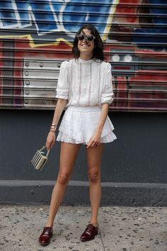 Girly white + burgundy oxfords