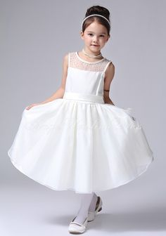 Jewel Organza A line Natural Waist Tea Length Flower Girl Dress