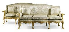 A pair of George III style giltwood settees one 19th century the other modern | lot | Sotheby's