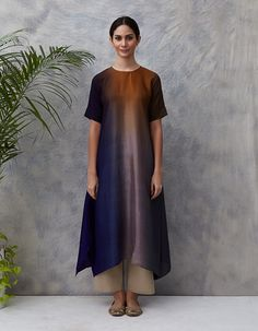 Ink Blue Mustard Ombre Hued Asymmetrical Dress Kurta with Silk Pinted Stole Kaftan Designs, Simple Kurti Designs, Indian Dresses, Indian Outfits, Silk Kurtas, Colorful Fashion, Trendy Fashion, Women's Fashion, Indian Designer Suits