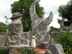 """Coral Castle - Florida's Stone Henge built solely by a Latvian immigrant Edward Leedskalnin who was just over 5'-0"""" tall!  He moved and placed stones that weighed several tons...and nobody knows how he did it!  He took his secret to the grave."""