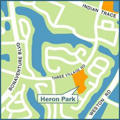 HERON PARK, 2300 Country Isles Road (adjacent to Country Isles Elementary School) Hours: 8 a.m. - Dusk Amenities: - 5.253 acre neighborhood park - 2 Baseball fields - Football / Soccer field - Parking - Dog Friendly park – dogs allowed on a max.  6' leash #LoveYourHome #WestonFL