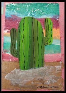 mrspicasso's art room: Wild Wild West- Cactus Collage