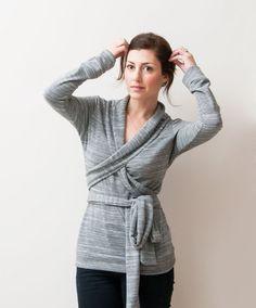 Women Blouse, Light Grey Long Sleeved Wrap Top / Shirt / Cardigan, Women's Sweatshirt, French Terry Material
