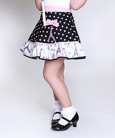 Look at this Little Miss Fashion Pink & Black Polka Dot Bow Skirt - Infant, Toddler & Girls on #zulily today!