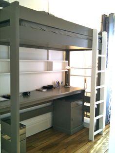Lit mezzanine CITY, avec son grand bureau et ses caissons, plus d'infos sur anders-paris.com