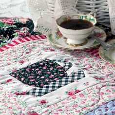 ~ Tea Time at Nana's ~ Quick Fuse and Piece Teacup Quilt Pattern