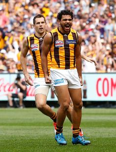 2015 Toyota AFL Grand Final - Hawthorn v West Coast - MELBOURNE, AUSTRALIA - OCTOBER 3: Cyril Rioli of the Hawks celebrates a goal during the 2015 Toyota AFL Grand Final match between the Hawthorn Hawks and the West Coast Eagles at the Melbourne Cricket Ground, Melbourne, Australia on October 3, 2015.