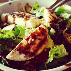 "green salad with greek cheece ""talagani"" on the grill"