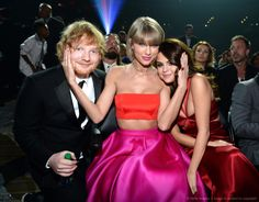 Taylor with Selena Gomez and Ed Sheeran at the 58th Annual Grammy Music Awards 2.15.16