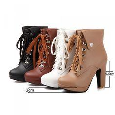 b57cb498165b 50% СКИДКА Модные женские ботильоны на шнуровке на платформе и высоком  каблуке ботинки из искусственной кожи осенне зимние женские ботинки черный,  ...