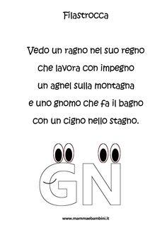 Risultati immagini per schede gna gne gni gno gnu Reggio, Language, Clip Art, Math Equations, Teaching, School, Mamma, Alphabet, Learning Italian