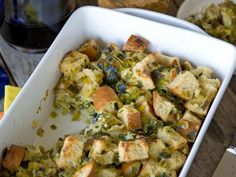 A Father's Day recipe for the vegetarian Dad: Sourdough Stuffing With Parmesan and Leeks