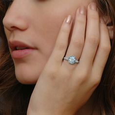Edwardian Aquamarine Engagement Ring- okay yes!!!! First colored one I've seen and really loved!!