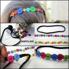 Perfect for school ! The kids will love them Fabric Headbands, Diy Headband, Braided Headbands, Diy Hair Bows, Diy Hair Accessories, Button Crafts, How To Make Hair, Diy Hairstyles, Men's Hairstyle