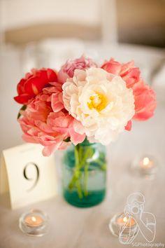 mason jar flowers, simple centre piece  10 jars per table - some will have flowers some will have tealights