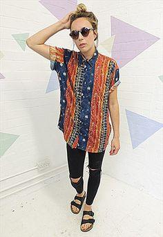 Vintage 80's Tribal print Oversized Shirt