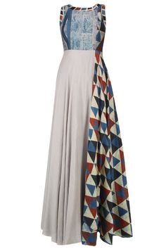 Anushree presents Grey and blue shaded triangular blocks printed maxi dress available only at Pernia's Pop Up Shop. Indian Attire, Indian Wear, Kurta Designs, Blouse Designs, Indian Dresses, Indian Outfits, Hijab Fashion, Fashion Outfits, Womens Fashion