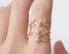 Personalized initial and birthstone ring Jewelry