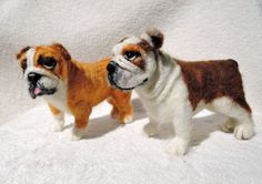 Custom needle felted dog - english bulldog - bully - made to order - custom pet portrait - memorial sculpture by Inkarno on Etsy