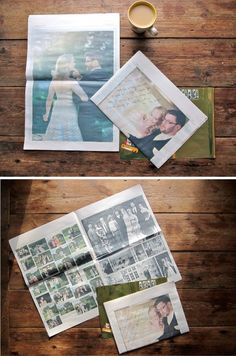 instead of one photo on the thank you note, this couple sent a wedding newspaper with their notes -- 8 pages of wedding goodness.