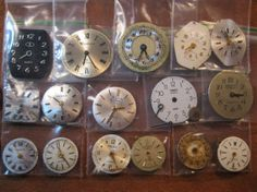 16 Vintage Wrist Watch Dials/Faces with Hands & Cog by HandzofTime, £7.95