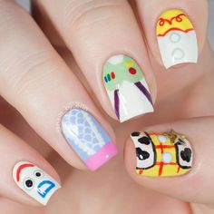 Nail art inspired by Disney Pixar's Toy Story Forky, Bo Peep, Buzz Lightyear, Jessie, and Woody Disney Pixar, Nail Art Disney, Disney Acrylic Nails, Disney Princess Nails, Best Acrylic Nails, Disney Princesses, Cute Nail Art, Cute Nails, Pretty Nails