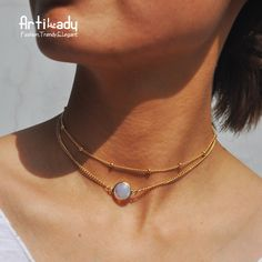 303aae429 Artilady natural crystal 2 layer choker necklace gold color chain opal  stone pendant necklace for women