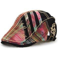 0712b03e01e Men Women Cotton Washed Beret Cap Lines Stripe Adjustable Buckle Newsboy  Cabbie Hat Fashion Caps