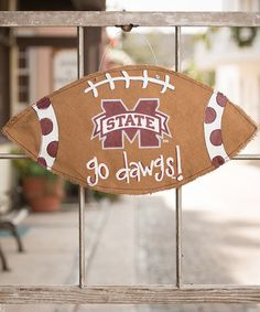 Take a look at this Mississippi State Football Burlap Wall Hanging by Glory Haus on #zulily today!