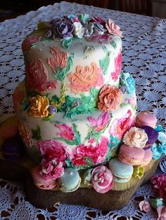 Hand painted Russian honey layer cake by Julie Shaw