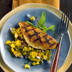 Grill Pan Chicken With Fiery Mango-Ginger Salsa Recipe - Diabetic Gourmet Magazine - Diabetic Recipes