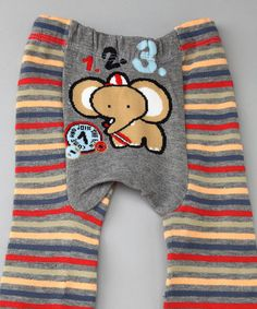 Take a look at this Gray Elephant Stripe Leggings - Infant by Giggle Buns & Bon Bon Cupcakes on @zulily today!