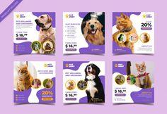 Pet Shop Square Banner For Social Media Post Social Media Banner, Social Media Design, Pet Shop, Dog Cafe, Promotional Design, Instagram Design, Graphic Design Posters, Dog Design, Pets