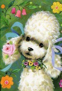 Vintage Poodle Art leave sweet messages with a sweet face Vintage Birthday Cards, Vintage Greeting Cards, Vintage Postcards, Vintage Dog, Vintage Images, Retro Images, Vintage Pink, Halloween Vintage, Vintage Illustration