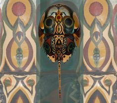 pic HORSESHOE CRAB SHELLS   Hand Painted Horseshoe Crab Shell Tribal Totem Series 1