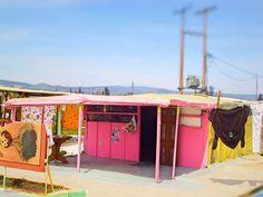 Typical Romani baracks in Volos, Greece