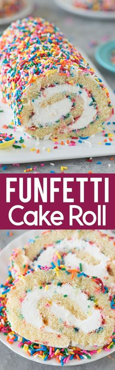 funfetti cake roll: A vanilla cake paired with a cream cheese frosting and sprinkles