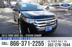 2013 Ford Edge SEL - Sport Utility Vehicle - V6 3.5L Engine - Keypad Door Lock - Remote Keyless Entry - Alloy Wheels - Spoiler - Tinted Windows - Fog Lights - Black Leather Interior - Safety Airbags - Powered Windows/Locks/Mirrors/Driver Seat - Seats 5 - AM/FM/CD/SIRIUS Satellite - Touch Screen - USB Ports - Bluetooth - SYNC by Microsoft - Digital Compass - Outside Temperature Display - Heated Front Seats - Moonroof - Backup Camera - Cruise Control - Dual Exhaust and more!