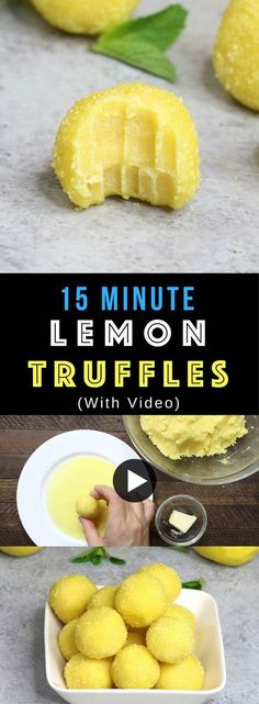 Super Easy Lemon Truffles – these flavorful lemon cake batter truffles are so easy to make and they look absolutely beautiful! It takes only 15 minutes. All you need is only 5 simple ingredients: lemon cake mix, butter, sugar, lemon and yellow sprinkles. Quick and easy recipe. Dessert, party recipe. Vegetarian. Video recipe. | Tipbuzz.com