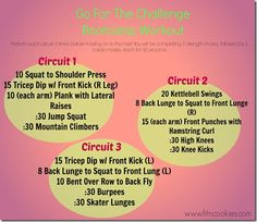 Go for the challenge bootcamp workout, love the back lunge, squat, front lunge move