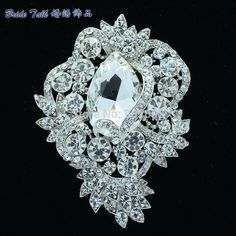 Unique Flower Drop Brooch Pin Pendant Black Rhinestone Crystal Wedding Brooches Bouquet Vintage Jewelry 6039 #Affiliate