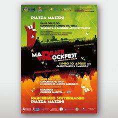 """Mareate Rock Festival Studio Concept e progettazione grafica poster pubblicitari per manifestazione musicale. Gli eventi all'interno della manifestazione si svolgevano contemporaneamente in """"superficie"""" e nel parcheggio sotterraneo della città: questo elemento """"up-and-down"""" è stato richiamato nel concept grafico.  Rieti   Mirko Cianca   Grafica"""