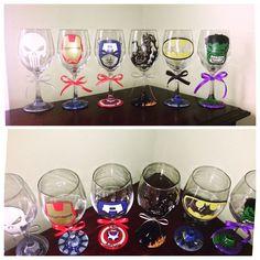 Hand painted Superhero wine glasses Marvel The Punisher, Iron Man, Captain… Marvel Wedding Theme, Avengers Wedding, Comic Book Wedding, Lego Wedding, Our Wedding, Wedding Ideas, Wedding Things, Diy Wine Glasses, Hand Painted Wine Glasses