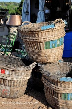 antique french baskets