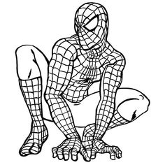 Classic Spiderman - colouring page.