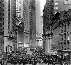 NYC. Black Tuesday on Wall Street; Financial District of New York City. October 29, 1929.
