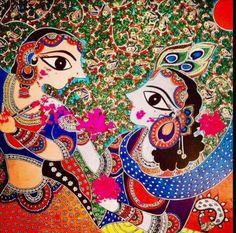 No photo description available. Holi Painting, Krishna Painting, Madhubani Art, Madhubani Painting, Art And Illustration, Traditional Paintings, Traditional Art, Kalamkari Painting, Indian Folk Art