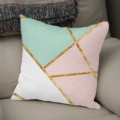 Discover «Blush, Mint, White Geo with Gold Blush And Gold Bedroom, Pink Bedroom Decor, Bedroom Decor For Teen Girls, Pink Bedrooms, Cute Bedroom Ideas, Cute Room Decor, Girl Bedroom Designs, Teen Room Decor, Small Room Bedroom